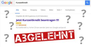 Online-Werbung wird abgelehnt