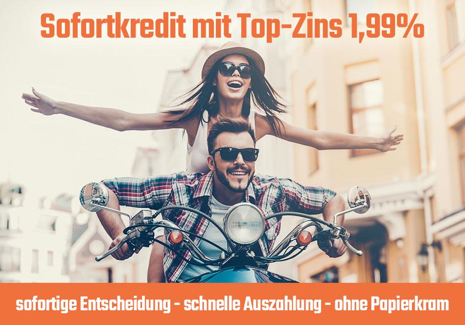 Sofortkredit mit Top-Zins ab 1,99%